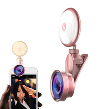 цены RK19S LED Selfie Ring Light Fill Light with Macro Fisheye Wide Angle Lens for iPhone iPad Sumsung Galaxy Photography Phones
