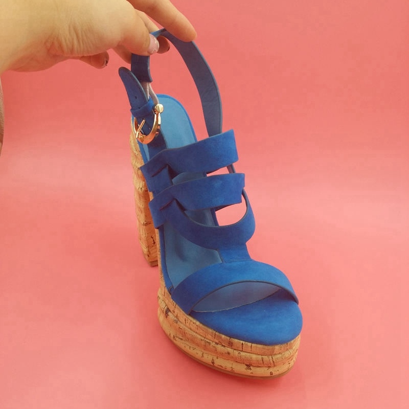 2016 New Square High Heels Open Toe Party Female Sandals Buckle Strap  Fretwork Gladiator Sandals Women 9ea6b02a0b59