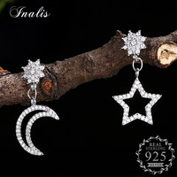 INALIS Asymmetrical Earrings For Women Stars Moon Cubic Zirconia CZ Female Fashion Personalized Jewelry 100 925