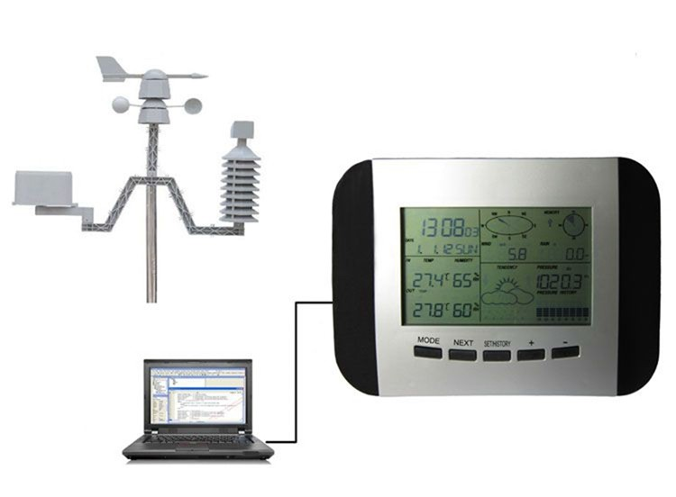 US $69 3 30% OFF 100M Professional Weather Station Thermometer Humidity  Rain Pressure Data Recorder With PC Solar Power Wireless Weather Center-in