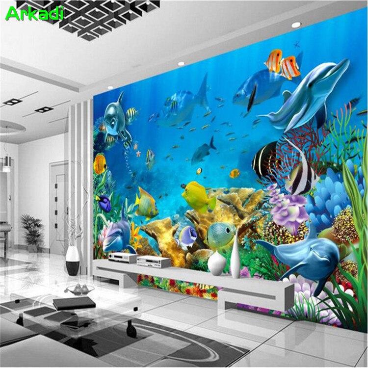 3d Tapete Nach Foto Meer Unterwasser Welt Delphin Kinder Zimmer 3d Wand Wohnzimmer Tv Hintergrund Wand Papier Wandbild