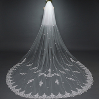 2018 new wedding veil white ivory lace wedding veil wholesale real photo comb long wedding veils cheap velos novia 3M