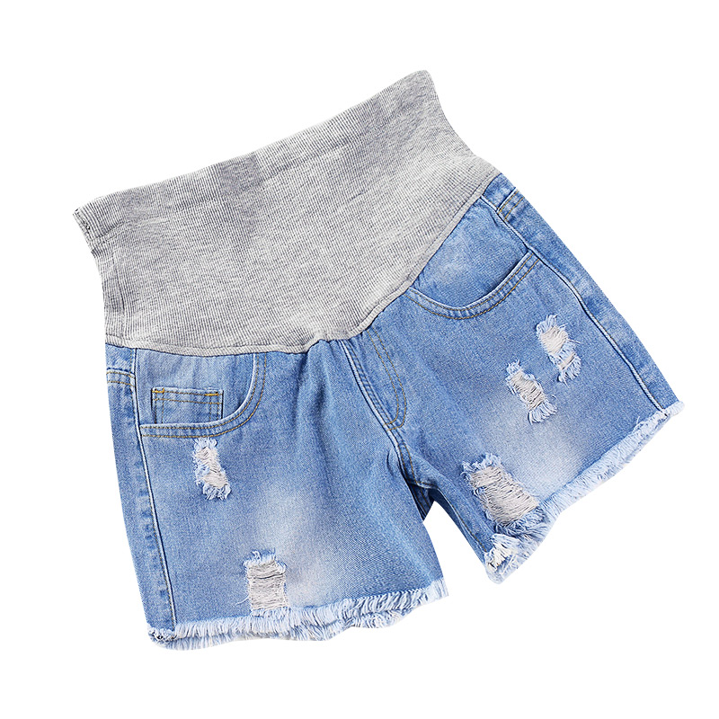 1882# Summer Fashion Denim Maternity   Shorts   Elastic Waist Belly   Short   Jeans Clothes for Pregnant Women Hot Ripped Hole Pregnancy