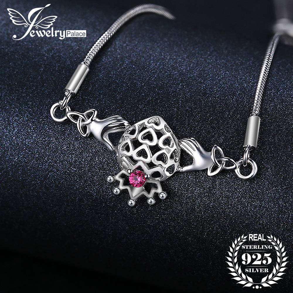 JewelryPalace Caged Hearts Claddagh Created Ruby Adjustable Bracelet 925 Sterling Silver For Women As Beautiful Gifts caged slimming tee