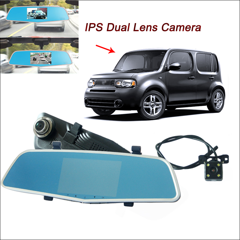 BigBigRoad Car DVR For Nissan cube almera sentra Rearview Mirror Video Recorder Dual Cameras 5 inch IPS Screen parking monitor