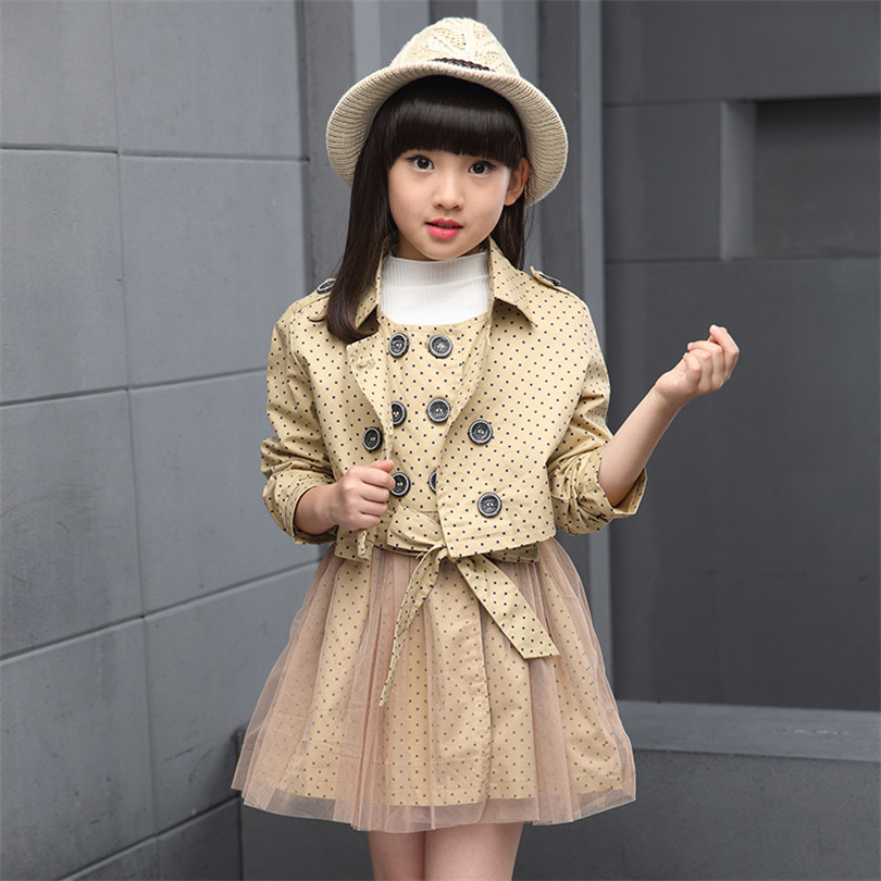 2017 Princess girl dress of the new children's clothing casual windbreaker girls dot set children two sets dress children of foreign trade of the original single sequined dress adult costumes dance dressperformance clothing princess dress