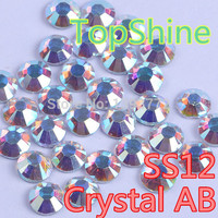 2 Bags 2880Pcs Crystal AB SS12 Clear AB 20 Gross China DMC Hotfix Heat Transfer Rhinestones