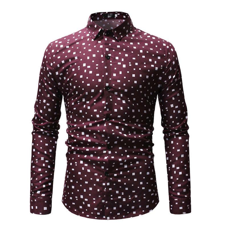 Классический черный, белый цвет в горошек рубашка с принтом для мужчин повседневное длинным рукавом s социальной Мужская классическая рубашка Hipster уличная