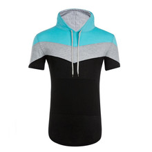 2019 brand clothing three-color stitching men's T-shirt men's luxury T-shirt fitness casual sports men's hooded T-shirt tops sky blue self tied design color stitching t shirt