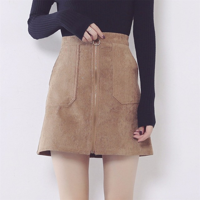 96d76fde66b86 2018 Autumn Winter Corduroy Skirts Womens High Waist Zipper Pockets Skirt  Plus Size high quality Mini Skirt faldas saias