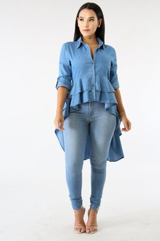 Woman blue color shirt dress vestidos jeans