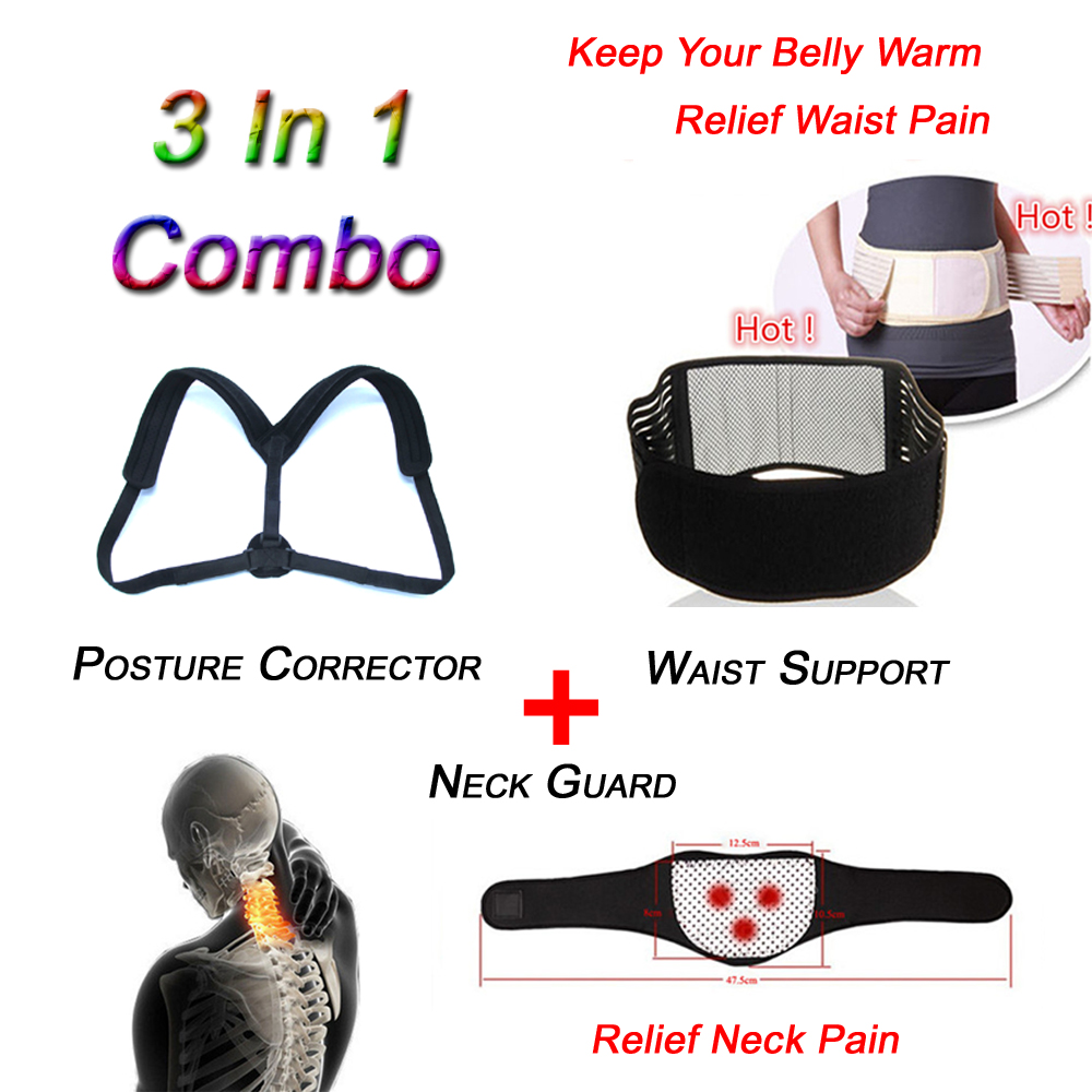 Top Quality Shoulder Posture Corrector Brace 3 in 1 Adjustable Magnetic Therapy Neck & Waist Pain Relief Product Woman Man T192