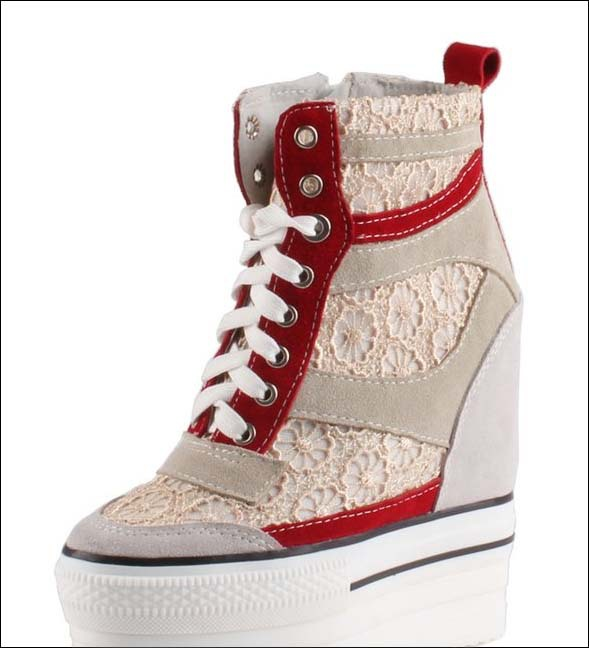 new 2018 women genuine leather Lace fashion platform wedge high heels shoes women lace-up hidden wedges ankle boots patchwork