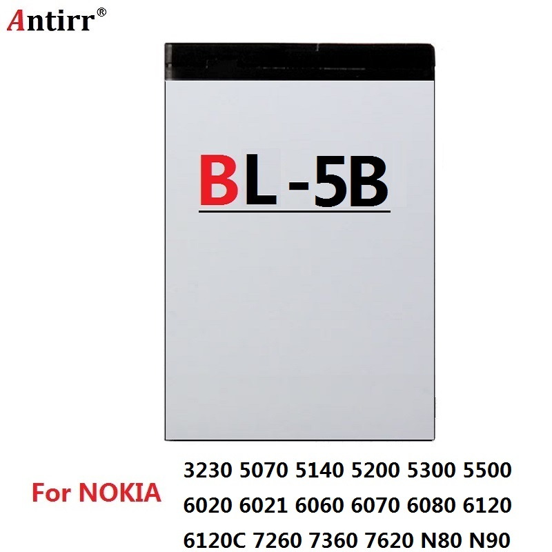 Antirr 890mAh BL-5B Replacement Battery For Nokia 3230/5070/5140/5140i/5200/5300/5500/6020/6021/6060/6070/6080/6120/6120C ect(China)