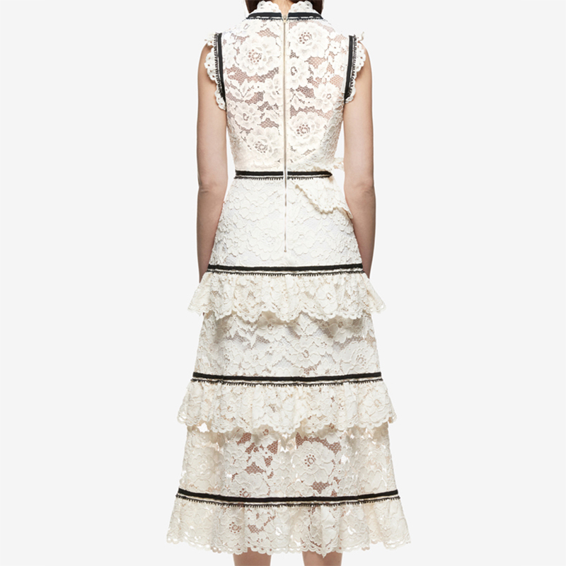 5ff5aff6a7 LALA IKAI 2018 Summer Womens Lace Tiered Midi Dresses White Plunging V Neck  Cake Dress Women Sleeveless Beach Vestidos QWA1064-in Dresses from Women s  ...