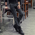 Autumn and winter black male slim skinny pants trousers boys boot cut jeans