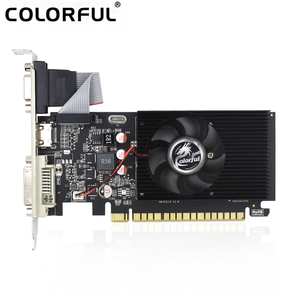 Bunte Geforce GT710 2 GB DDR3 64 Bit Graphics Grafikkarte DVI + HDMI + VGA Placa De Video Mit Nvidia GPU Für Computer Bergbau