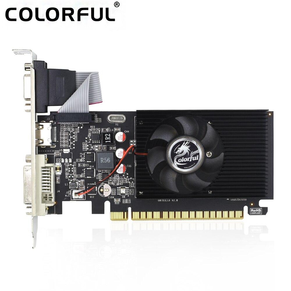 Coloré Geforce GT710 2 GB DDR3 64 Bits Graphique Carte Vidéo DVI + HDMI + VGA Placa De Vidéo Avec Nvidia GPU Pour Ordinateur Minière