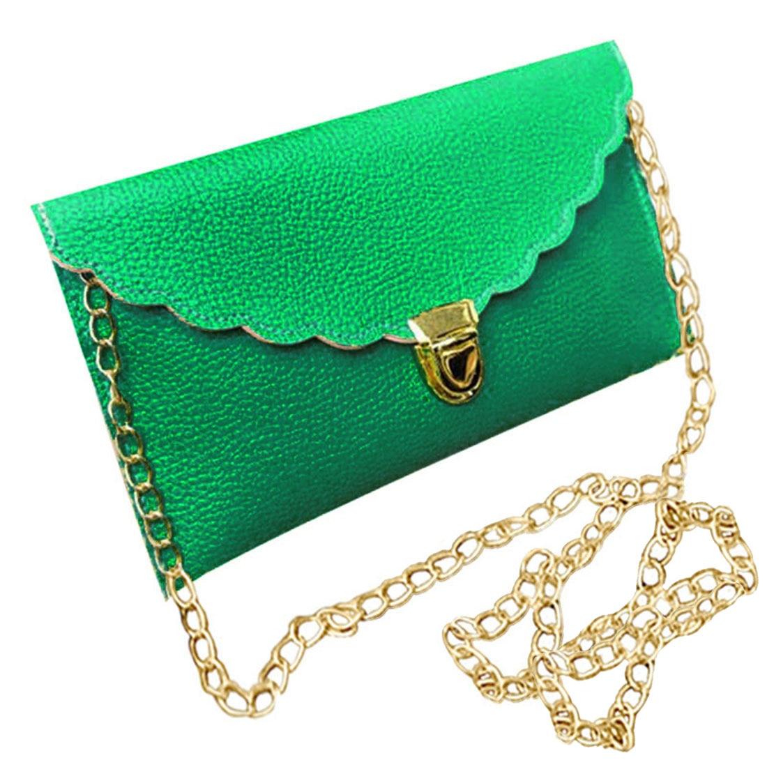 Ladies Handbag Imitation Leather Shoulder Bag Fashion Wallet Long Metal Chain Lady Handbag, Green handbag 2018 new wallet european and american fashion eighty percent off ladies long wallet