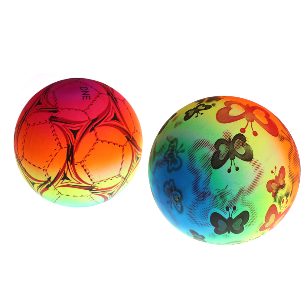 New Colored Rainbow Inflated Ball Balloons Football Toy For Outdoor Play Water Game Beach Toy Kid Children Swimming Pool image