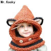 Mr Kooky Fox Hooded Scarf Hats Beanies Handmade Crochet Winter Neck Warmer Wrap Cute Children Animal
