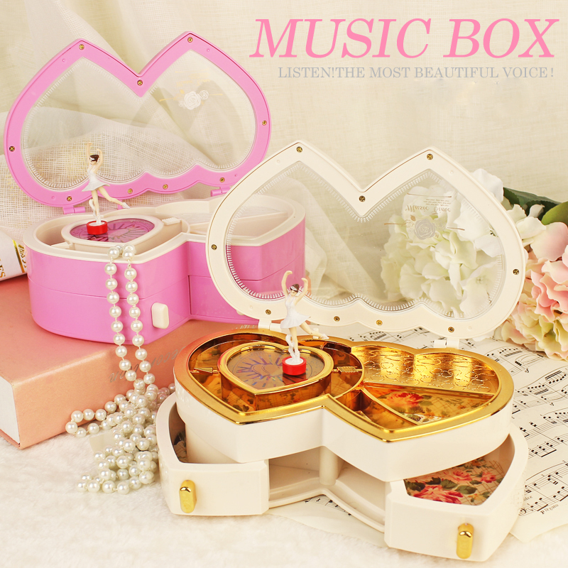 Double Heart For Alice Music Box Classical Hand Cranked Dancing Girl Ballerina Jewel Case Wedding Gift 1 Piece Free Shipping