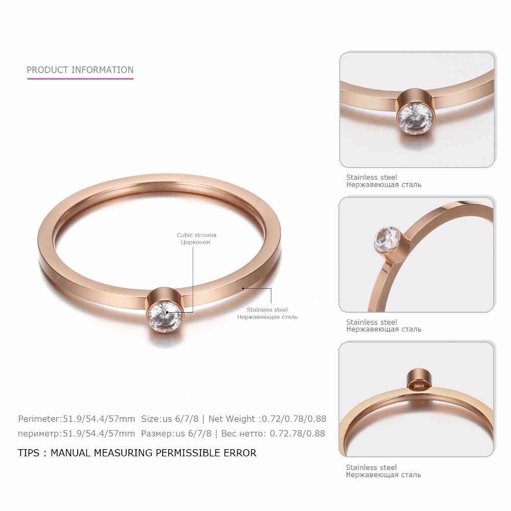 טבעת אצבע נירוסטה טבעות עם מעוקב Zirconia פשוט טבעות לנשים רוז זהב צבע יוקרה אופנה יום נישואים מתנות