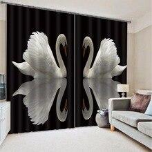 Современная мода Лебединое печати 3D плотные шторы для Постельное белье Гостиная hotel шторы Cortinas Para Sala