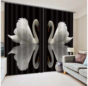Modern Fashion Swan Printing 3D Blackout Curtains For Bedding room Living room Hotel Drapes Cortinas Para Sala