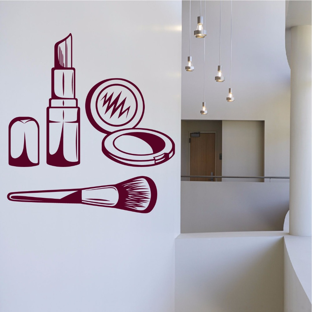 Hot new personality cosmetics gift box wall stickers Make up Beauty Girls Salon Wall Art Stickers Decals Vinyl Decor Room Home