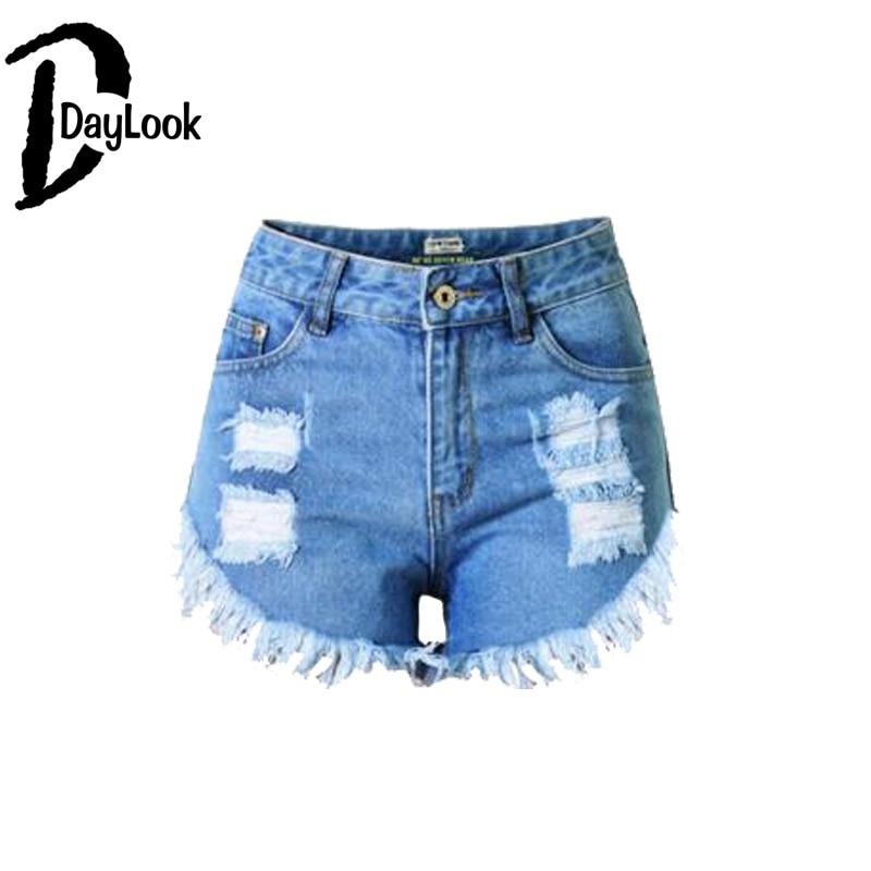 DayLook DayLook 2017 Spring Summer New Denim Shorts Womens High Waist Ripped Tassel Hole Hot Shorts Slim Fitted 32-44 Size Feminino