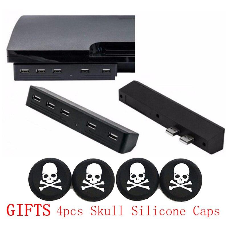 5-usb-ports-high-speed-hub-adapter-4pcs-joystick-thumbstick-grip-skull-caps-for-font-b-playstation-b-font-ps3-slim-console