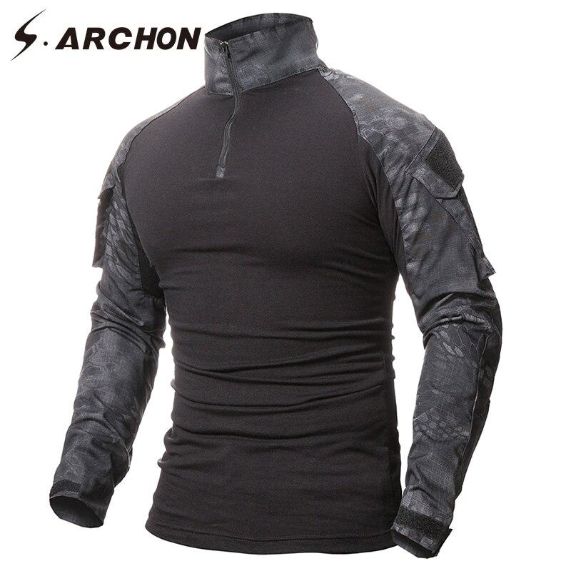 S. ARCHON Militär Uniform Taktische Langarm T Shirt Männer Camouflage Armee Combat Shirt Airsoft Paintball Kleidung Multicam Hemd