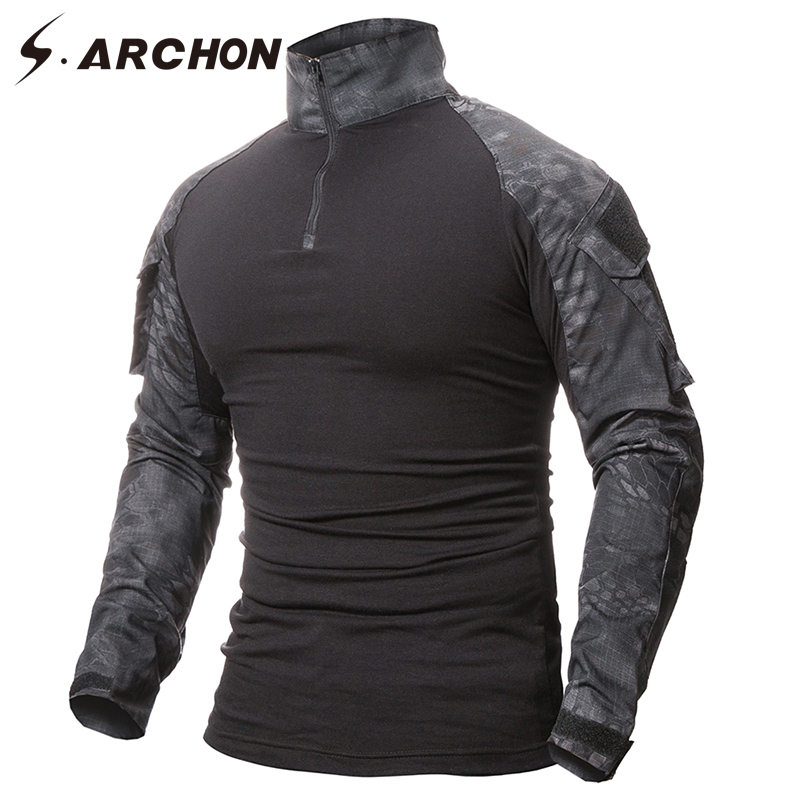 S.ARCHON Military Uniform Tactical Long Sleeve   T     Shirt   Men Camouflage Army Combat   Shirt   Airsoft Paintball Clothes Multicam   Shirt