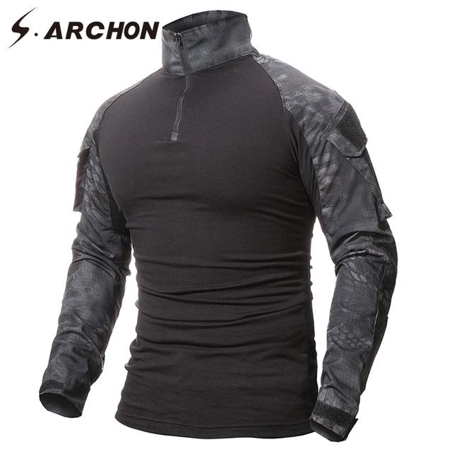 S. ARCHON Военная Униформа тактическая футболка с длинным рукавом для мужчин камуфляжная армейская боевая рубашка страйкбол Пейнтбольная одежда рубашка с камуфляжем Мультикам