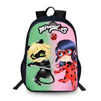 BAOBEIKU New 3D Backpack Miraculous Ladybug Charater Printed Children SchoolBags For Girls Boys Men Book Bag