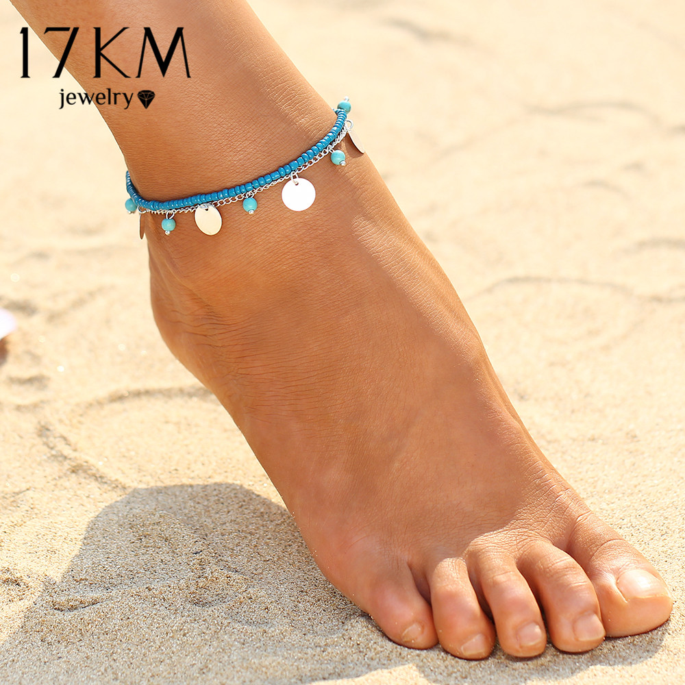 17KM 1PCS Multiple Vintage Anklets For Women Bohemian Ankle Bracelet Cheville Barefoot Sandals Pulseras Tobilleras Foot Jewelry 1