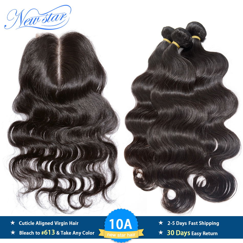 New Star Hair Peruvian Body Wave 3 Bundles With Lace Closure 100 Unprocessed Virgin Human Hair