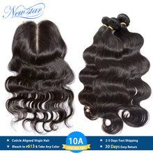 New Star Hair Peruvian Body Wave 3 Bundles With Lace Closure 100% Unprocessed Virgin Human Hair Weave Extension And 4x4 Closures(China)