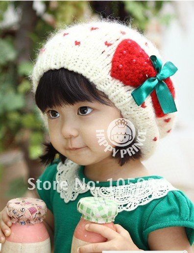 Lovely Baby Girl s Beret Baby Girl s Hat Baby Cap with Sweet Bowknot White  and Red colors 03c792a2a1d