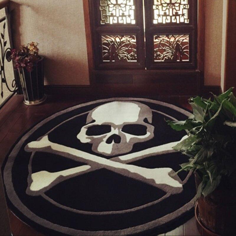 Style japonais et coréen tendance personnalité crâne rond squelette tapis acrylique tapis lavage mécanique grande taille tapis personnalisés