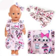 Новое высококачественное платье+ заколка для волос, одежда для 43 см/17 дюймов, Детская кукла, детский праздничный подарок на день рождения, аксессуары для куклы