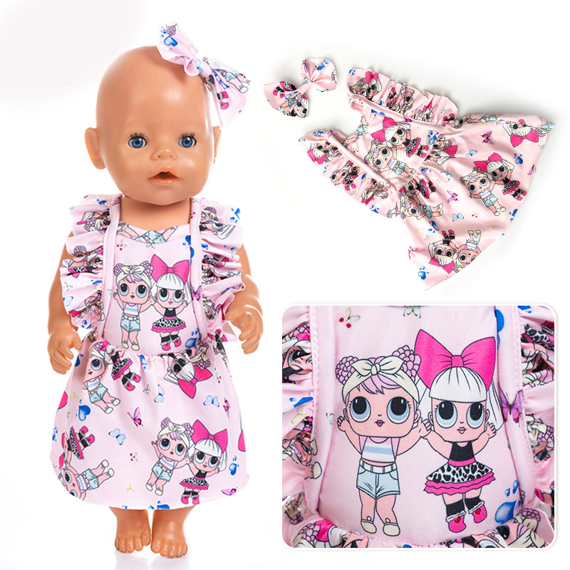 New High Quality Dress+hairbrand Fit For Born 43cm Doll Clothes Doll Accessories For 17inch Baby Doll