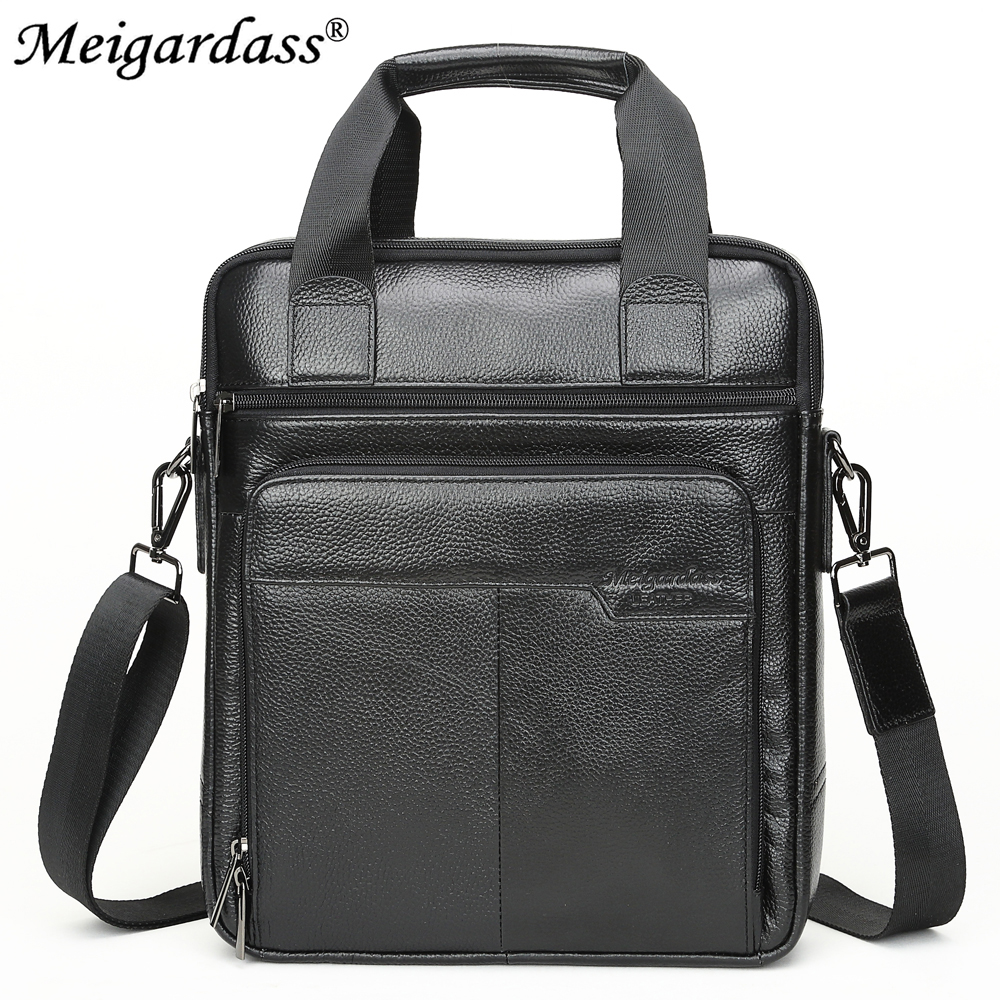 MEIGARDASS Genuine Leather Business Briefcase Men's Office Handbags Computer Laptop Bag Male Casual Shoulder Messenger Bags Tote