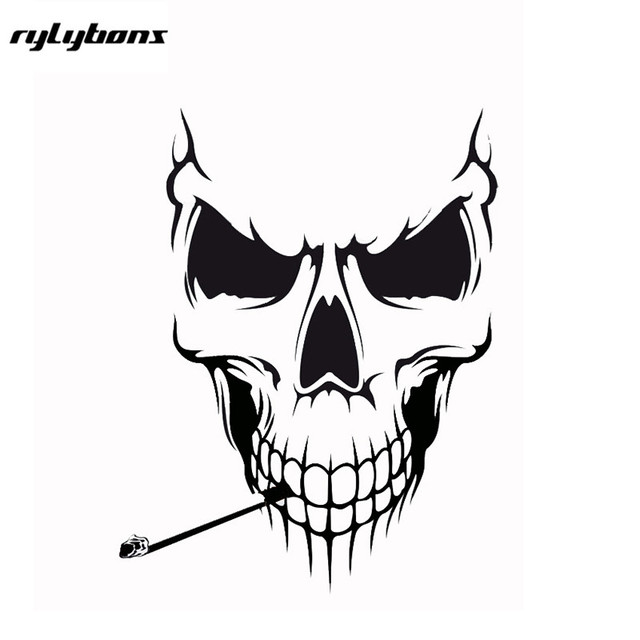Rylybons smoking skull 5 12x 6 3 vinyl stickers demors sticker decals half price for