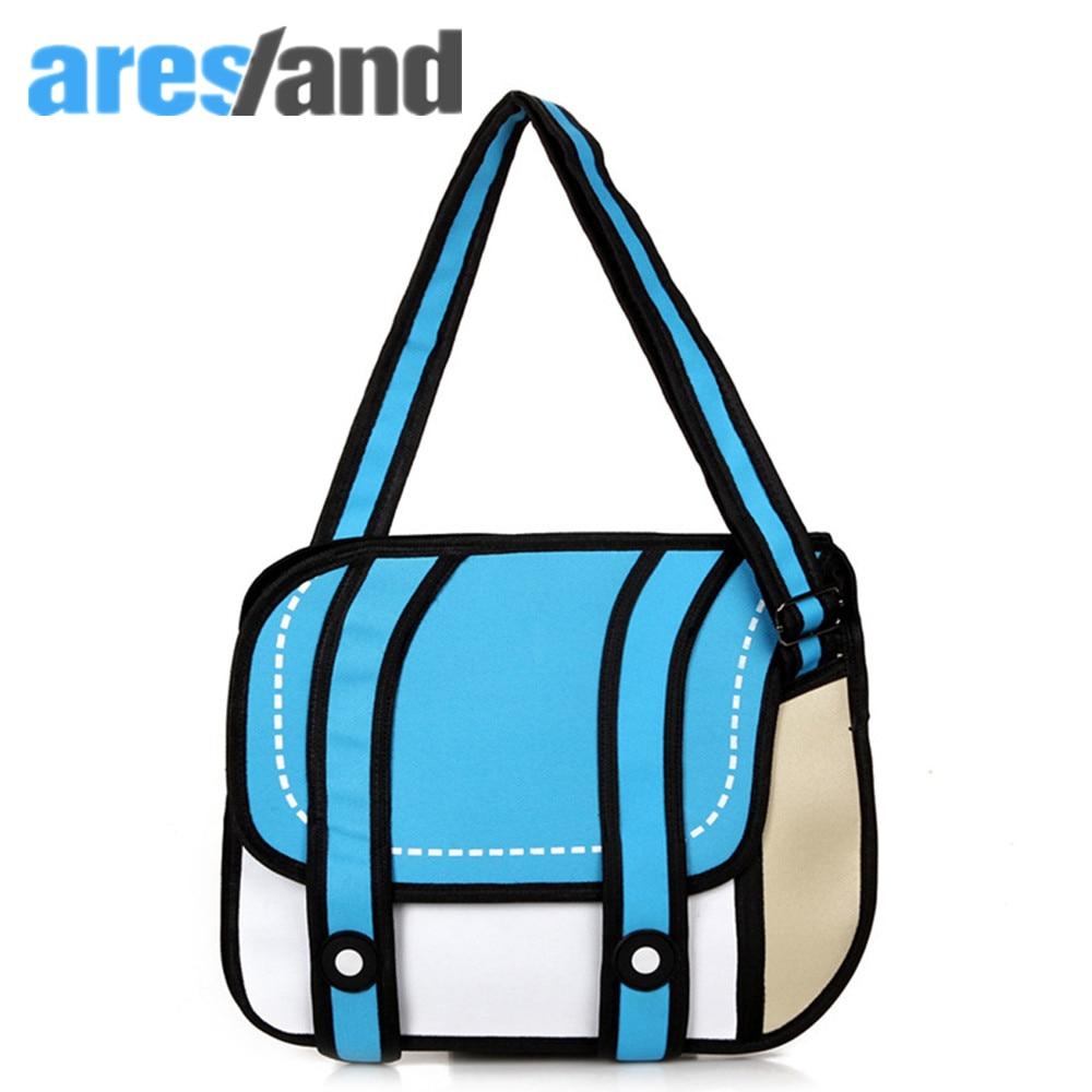 Aresland 2017 moda mujer bolsas 2d bolsa de dibujos animados bolsa de mensajero