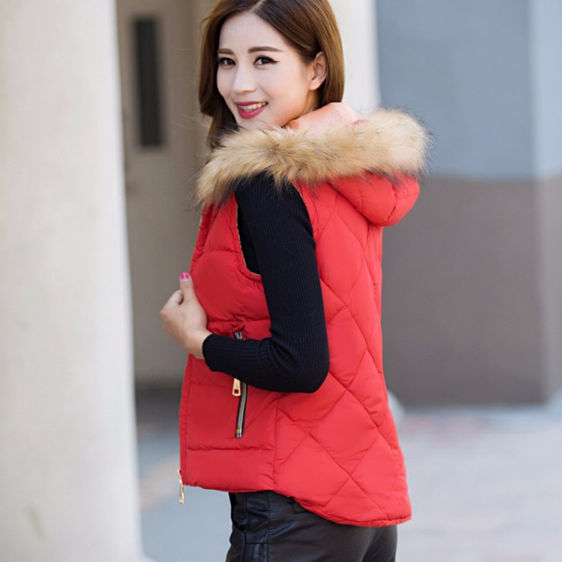2016 Women Spring Autumn Waistcoats Jacket Hooded Fur Vest Coat Warm Sleeveless Vests Female Plus Size 2016