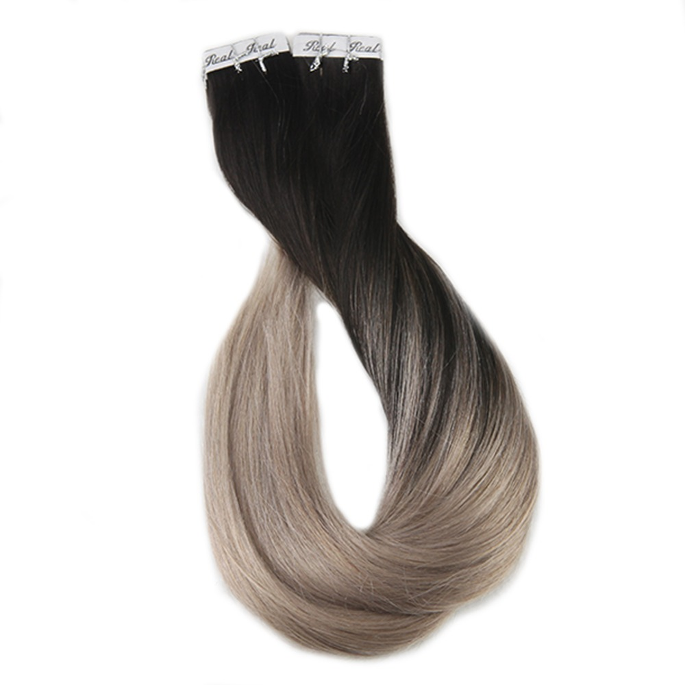 Full Shine 40 Pieces Balayage Tape in Hair Extensions 1B Fading to 18 Ash Blonde Remy