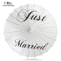 Free Shipping 84cm Just Married Painted Paper Parasol For Wedding Photographs Wedding Decor Paper Umbrella