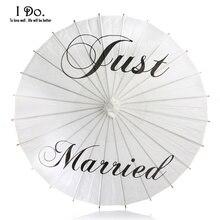 Бесплатная доставка 84 см Just Married окрашены бумаги зонтик для свадебных фотографий свадебный Декор бумаги зонтик
